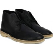 Clarks Desert Boot Blk Tumbled Lea Boots For Men(Black)