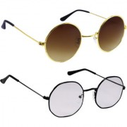 Derry Combo Of Bronze-Gold And Light Black Sunglasses