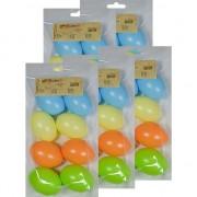 Geen 40x Pastel gekleurde kunststof eieren decoratie 6 cm hobby
