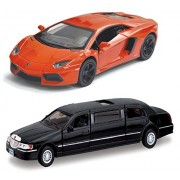 "Playking Kinsmart Combo of 5"" Lamborghini Aventador LP 700-4 Scale 1:38 and 1999 Lincoln Town Car Stretch Limousine 7'' Scale 1:38 Die Cast Metal, Doors Openable and Pull Back Action (Color May Vary)"