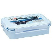 KP Old & new transportation blue aircraft printed lock & fit rectangular large food /Sandwich & Snacks Keeper lunch box With small lock and fit Cury container and fork spoon For school going kids (800 ML large)