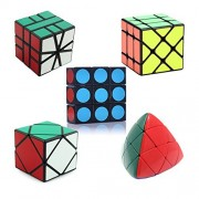 HJXDtech - 5 Different Abnormal Magic Cube Set of 1X3X3 Mastermorphix Skewb Fisher Square-1 Professional Puzzle Cubes