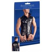 Svenjoyment Press Studs Vest Leather Muscle Shirts Sleeveless Black 2160889