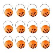 Bestoyard 7Cm Halloween Pumpkin Bucket Trick Or Treat Candy Pail Holder Jar Mini Goody Bag Buckets 12 Pcs