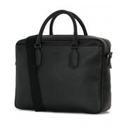 Canali Grain Leather Briefcase Black