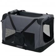 [pro.tec]® Kisállat hordozó szállító táska box S 49.5 x 34.5 cm szürke kutya macska