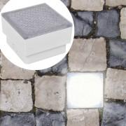 vidaXL LED лампи за вграждане в земя, 12 бр, 100x100x68 мм