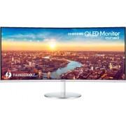 "Samsung - 34"" LED Curved QHD FreeSync Monitor (DVI, DisplayPort, HDMI, USB) - White/Silver"
