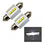 2 Pcs 41mm Lampara Coche Luz Blanca LED Puerto Bicúspide Cupula De Luz De Lectura Con 3 LED De Alta Potencia Lamparas