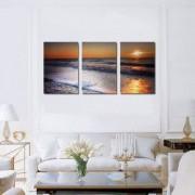 Tablou Canvas Premium Peisaj Multicolor Apus pe plaja Decoratiuni Moderne pentru Casa 3 x 70 x 100 cm