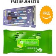 BELLA HARARO refreshing facial wipes Tissue (jasmine) with brush set of 5 (Multi colour)