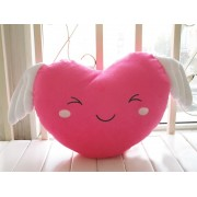 Grabadeal Valentine Smiling Love Heart with wings (Pink) - 30 cm