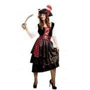 Viving Disfraz de pirata corsaria con falda larga - Talla M-L