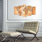 Tablou decorativ multicanvas Charm, 5 Piese, Harta Lumii, 223CHR3949, Multicolor