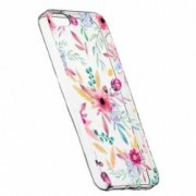 Husa Silicon Transparent Slim Happy Flowers Apple iPhone 5 5S SE