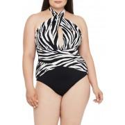 La Blanca Swimwear Zebra Print Wrap Front One-Piece Swimsuit CREAM