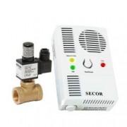Detector de gaz metan si monoxid Secor 2000 cu electrovalva de alama 34