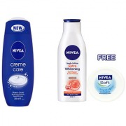 Nivea Care Shower Crme Care of 250ml and Body Lotion Extra Whitening of 200ml