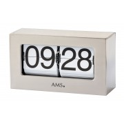 AMS 1175 Tafelklok, flipklok metaal aluminiumkleurig