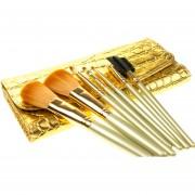 Set De 7 Brochas Profesionales Dorado Para Maquillaje