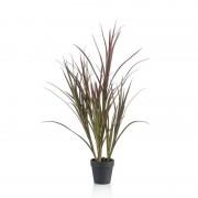 Bellatio flowers & plants Groene kunstplant hoog gras 90 cm plant in pot - Kunstplanten