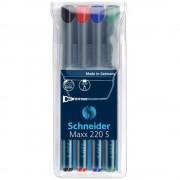 Marker permanent SCHNEIDER Maxx 220 S, 4 culori/set