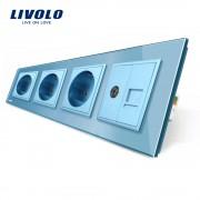 Priza cvadrupla Livolo cu rama din sticla 3 prize simple+TV/internet, albastru