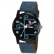 Roman Black Dail Round Analog Blue Leather Mens Quartz Watch