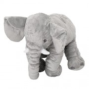 Zipom Baby Elephant Stuffed Plush Pillows Kids Long Nose Doll Soft Stuff Toys Lumbar Cushion Pillow Grey