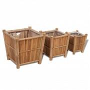 vidaXL Set 3 ghivece din lemn de bambus căptușite cu nylon