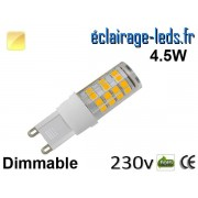 Ampoule LED G9 dimmable 4.5w smd 2835 blanc chaud 230v ref g9-04