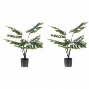 Shoppartners 2x Groene Monstera/gatenplanten kunstplant 60 cm in zwarte pot