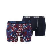 Puma Boxershort Blocking Print 2-Pack Blue/Red