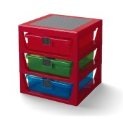 Organizator LEGO cu trei sertare - roșu