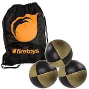 Juggling Ball Set - 3x Gold/Black Juggling Balls & Firetoys Bag
