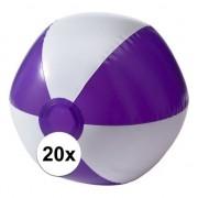 Merkloos 20x Opblaasbare speelgoed strandballen paars