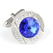 Mousie Bean Crystal Cufflinks Round 70's 083 Sapphire