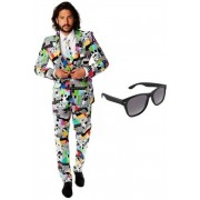 Heren kostuum / pak met televisie print maat 50 (L) - met gratis zonnebril