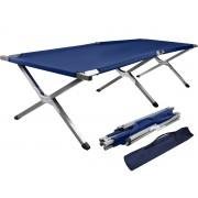 Pat pliabil solid pentru camping, dimensiuni 210x85,6x45cm, culoare albastru