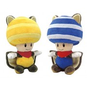 Little Buddy Set of 2 Super Mario Musasabi Flying Squirrel Stuffed Plushes - 1314 Yellow Toad & 1315 Blue Toad, 8""