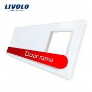 Panou 2 intrerupatoare simple cu touch si priza Livolo din sticla, alb