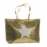 Geen Strandtas met ster goud 50 x 30 cm