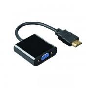 Cablu adaptor Hdmi tata la VGA mama fara sunet si 2 adaptoare, negru