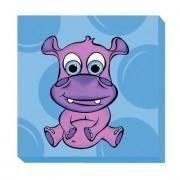 Kid Kusion Preschool Daycare Hippo Blue Zoo Baby Canvas Art