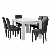 [en.casa] Mesa de comedor diseño - blanco - Set de sillas con estilo elegante - gris oscuro