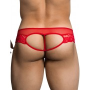 Candyman Lace Cut Out Thong Underwear Red 99299