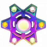 Aleacion de zinc Hexagon Dazzle Color Fidget Spinner con gema de acrilico