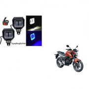 KunjZone Sqaure Aux Lamp/Fog Lamp White&Blue Drl Set Of 2 For Honda CB Unicorn