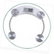 Qoibito Personal Health Bathroom Digital Human Body Weight Machine Round Glass Weighing Scale(White)