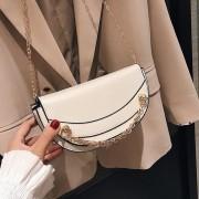 Fashion eenvoudig meisje PU keten één schoudertas dames handtas Messenger Bag (wit)